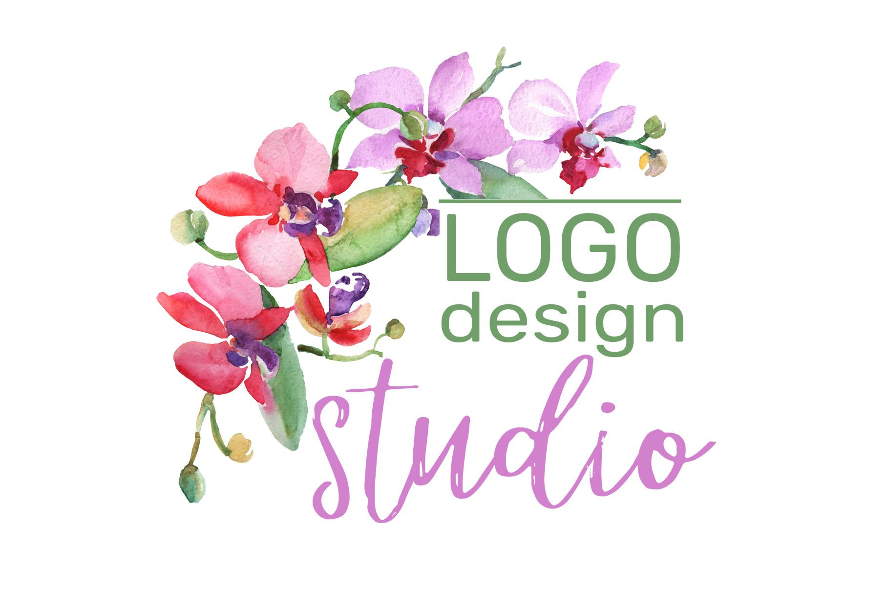 LOGO with beautiful orchids Watercolor png example image 3