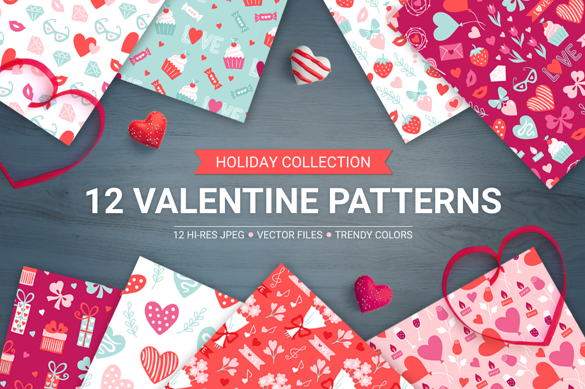 12 Valentine Seamless Patterns example image 1
