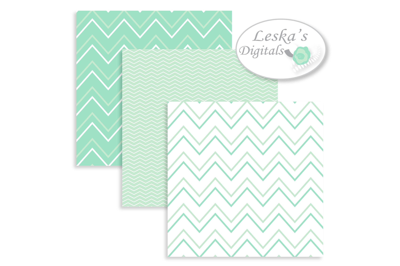 Mint Green Digital Paper Chevrons 14865 Backgrounds Design Bundles