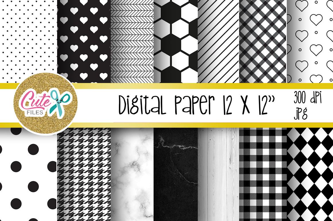 Black and white digital paper for scrapbooking example image 1