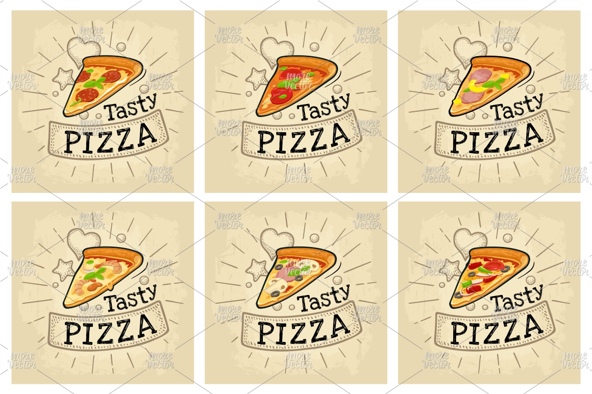 Set slice pizza. Vector color flat icon example image 2
