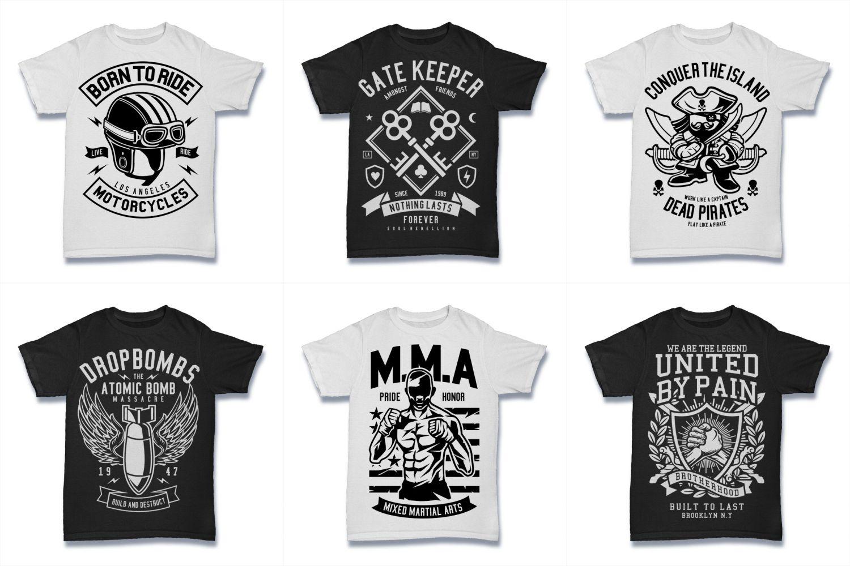 100  Vector Tshirt Designs ( B/W Concept ) example image 12
