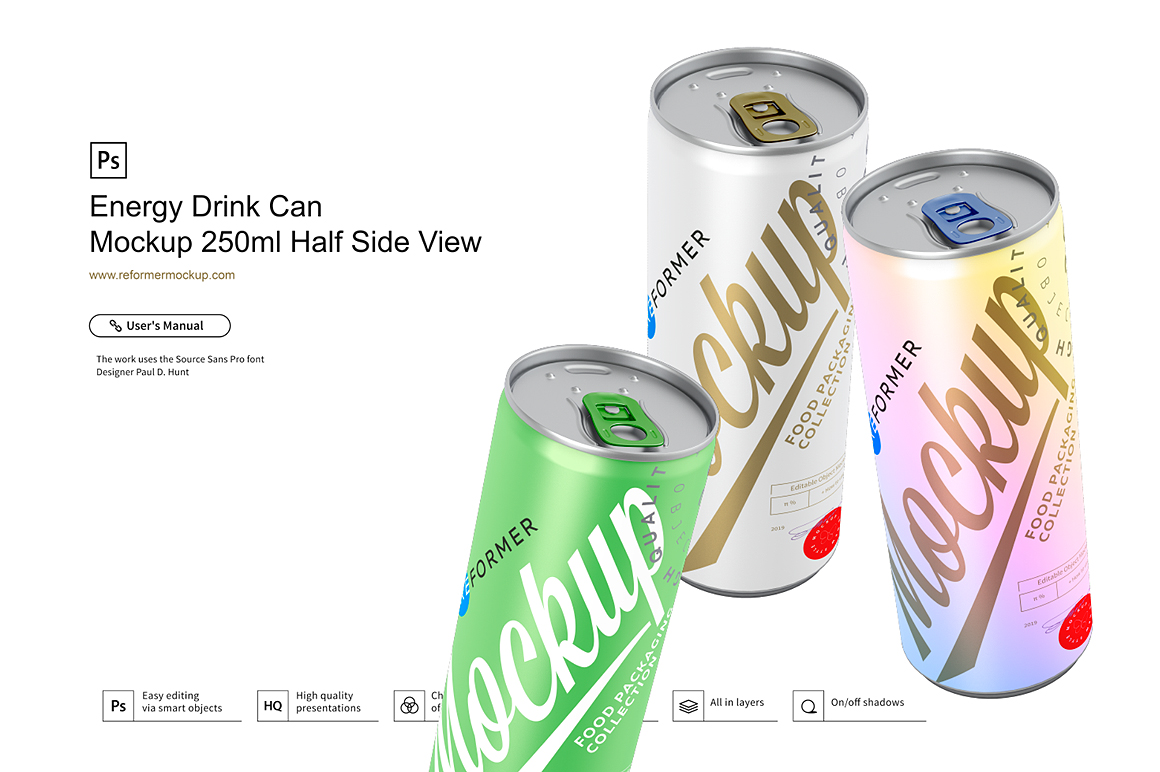 Energy Drink Can Mockup 250ml Half Side View example image 4