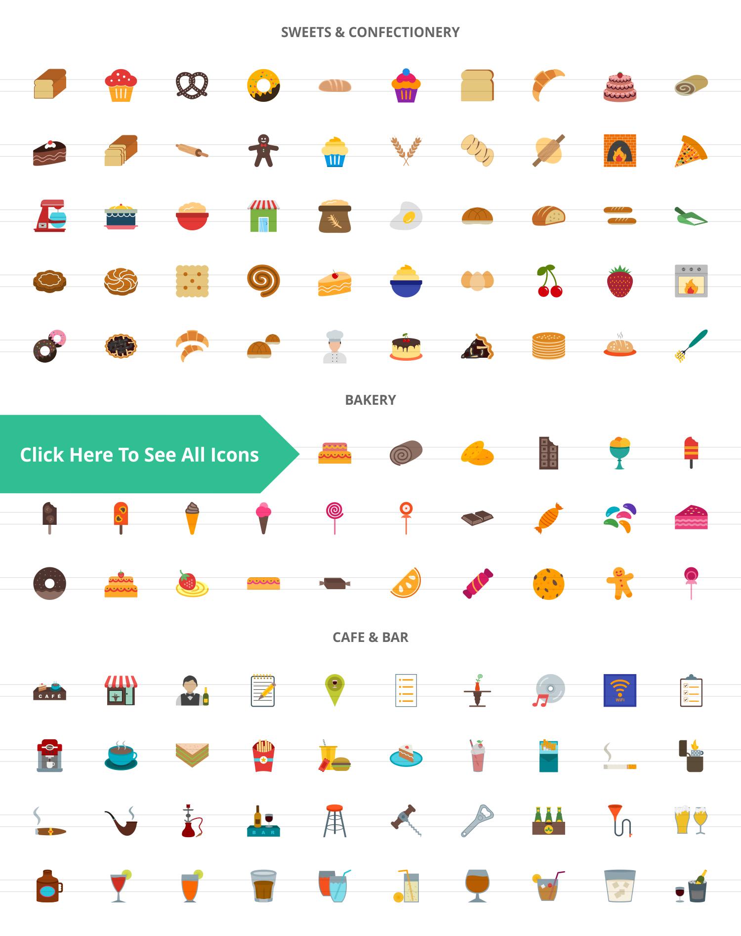 120 Sweets & Bakery Flat Icons example image 2