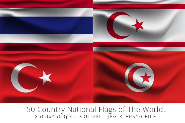 Realistic waving 50 Country National Flags of The World. example image 13