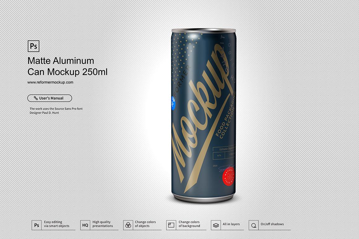 Matte Aluminum Can Mockup 250ml example image 1