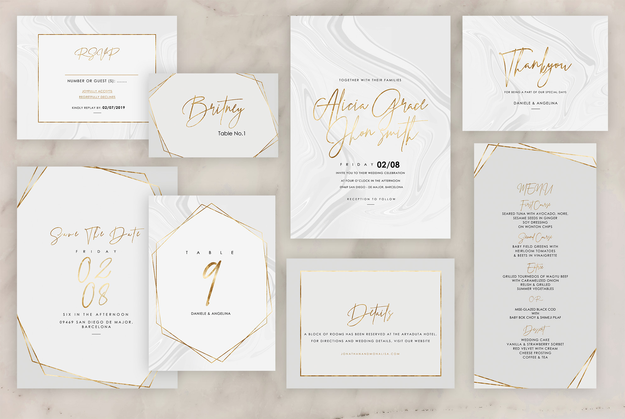 Marble Wedding Invitation - 6 Collections example image 2