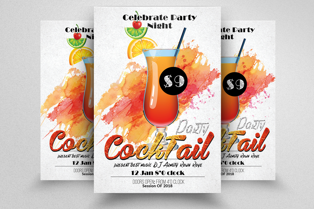 10 Summer Beach Cocktail Party Flyers Bundle example image 7