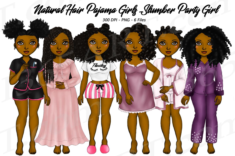 Pajama Girls Slumber Party Black Girls Natural Hair Clipart example image 1
