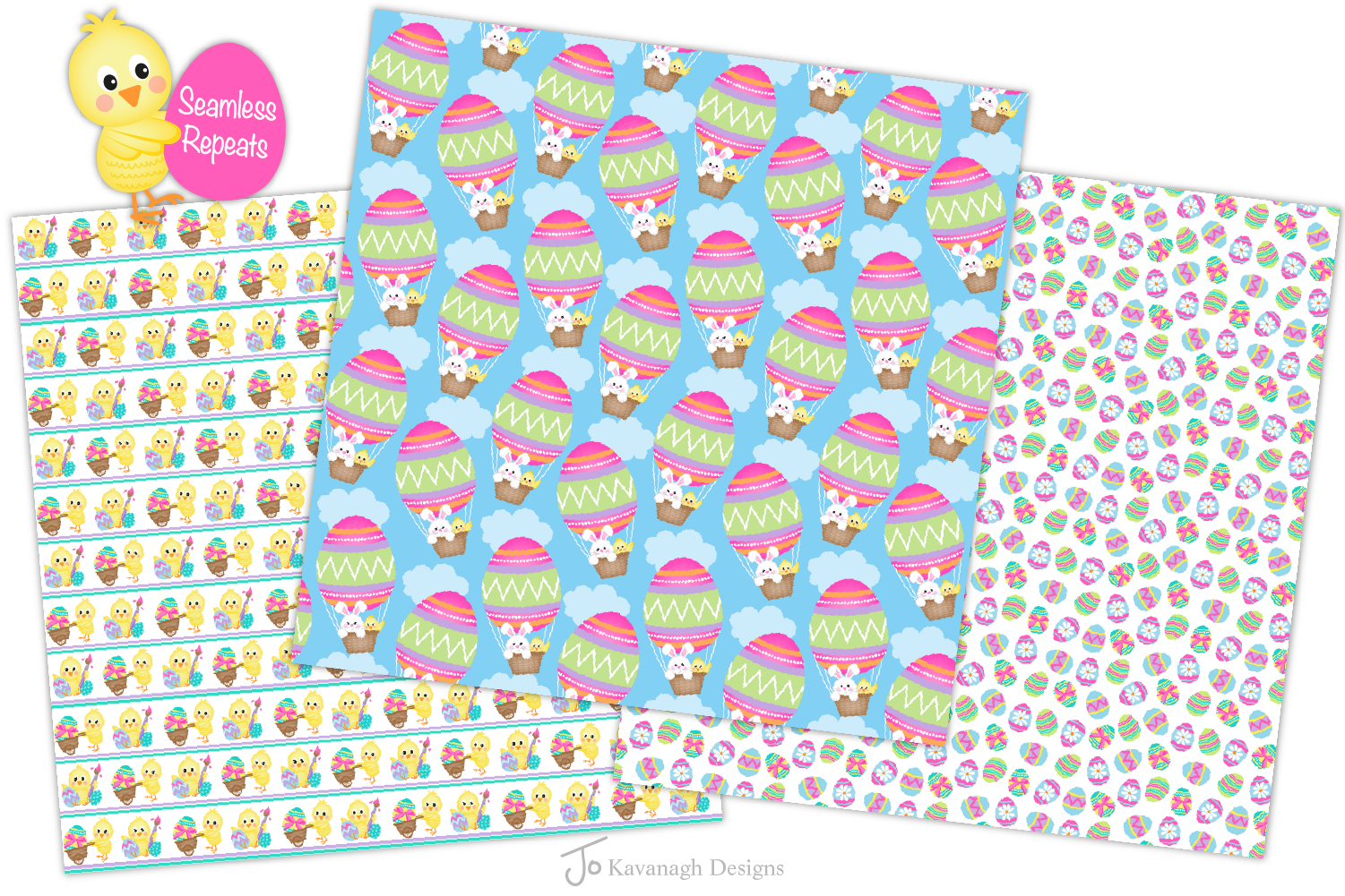 easter bunny digital paper, Easter seamless patterns -P38 example image 3
