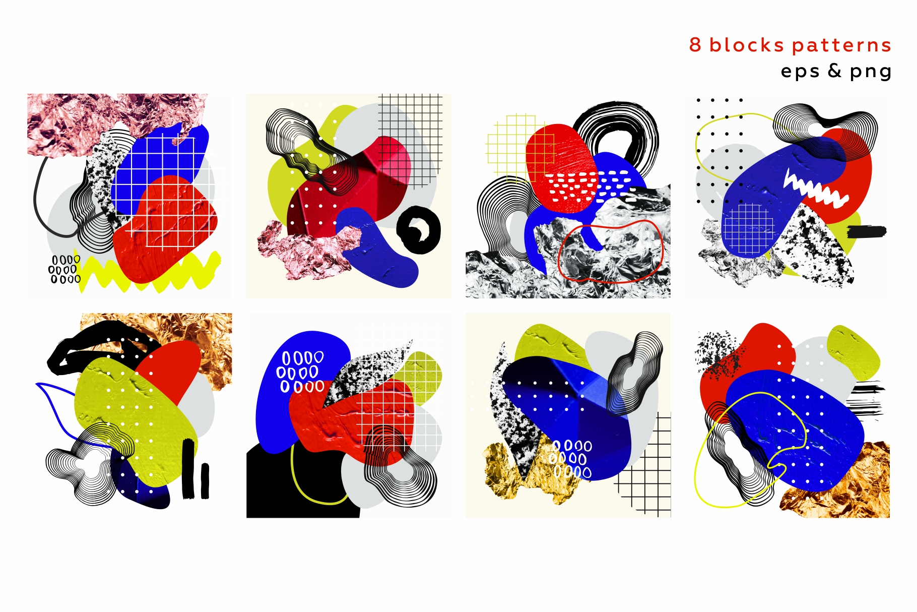 Collage me! Abstract and modern patterns and shapes set. example image 9