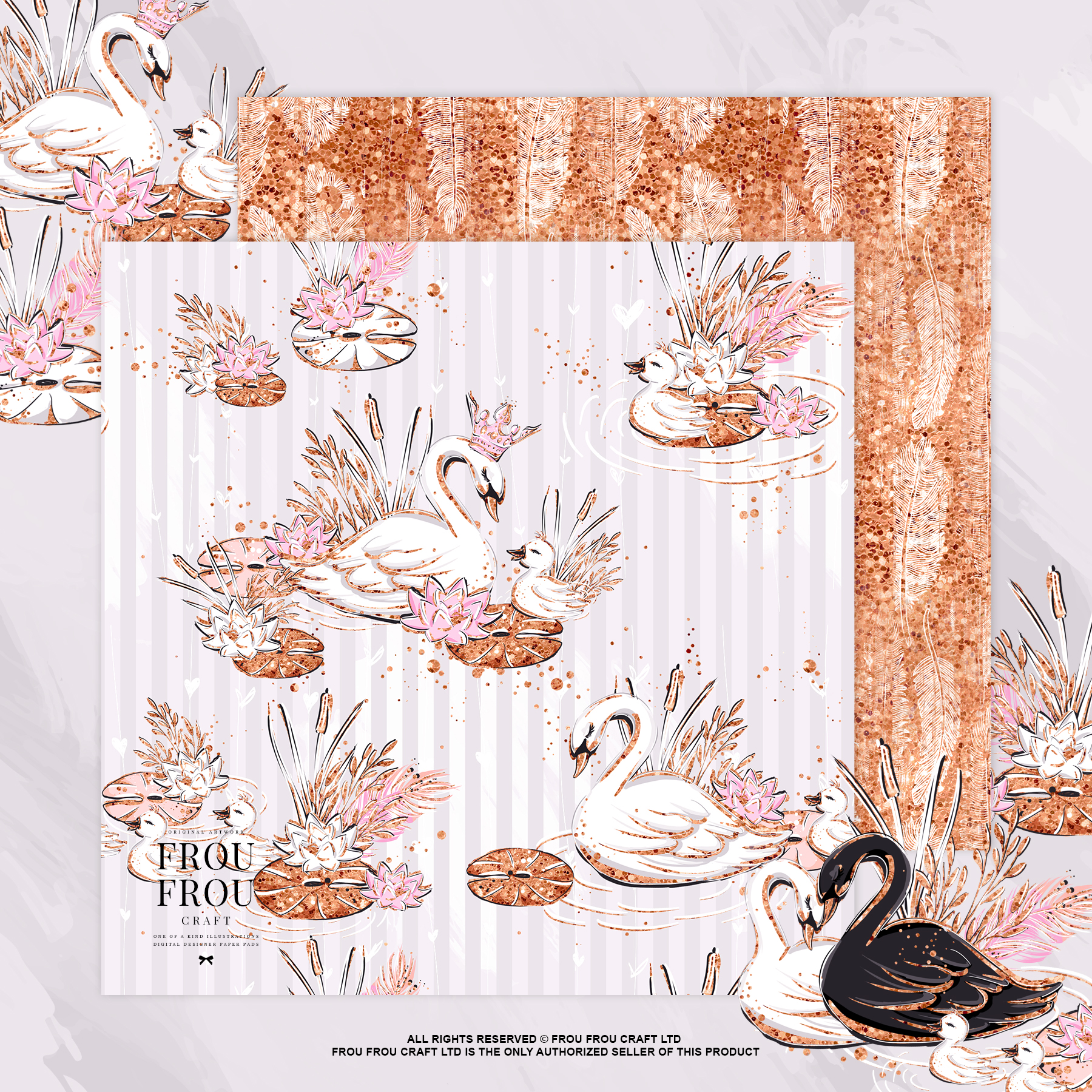 Swan Rose Gold Glitter Nursery Paper Pack example image 8