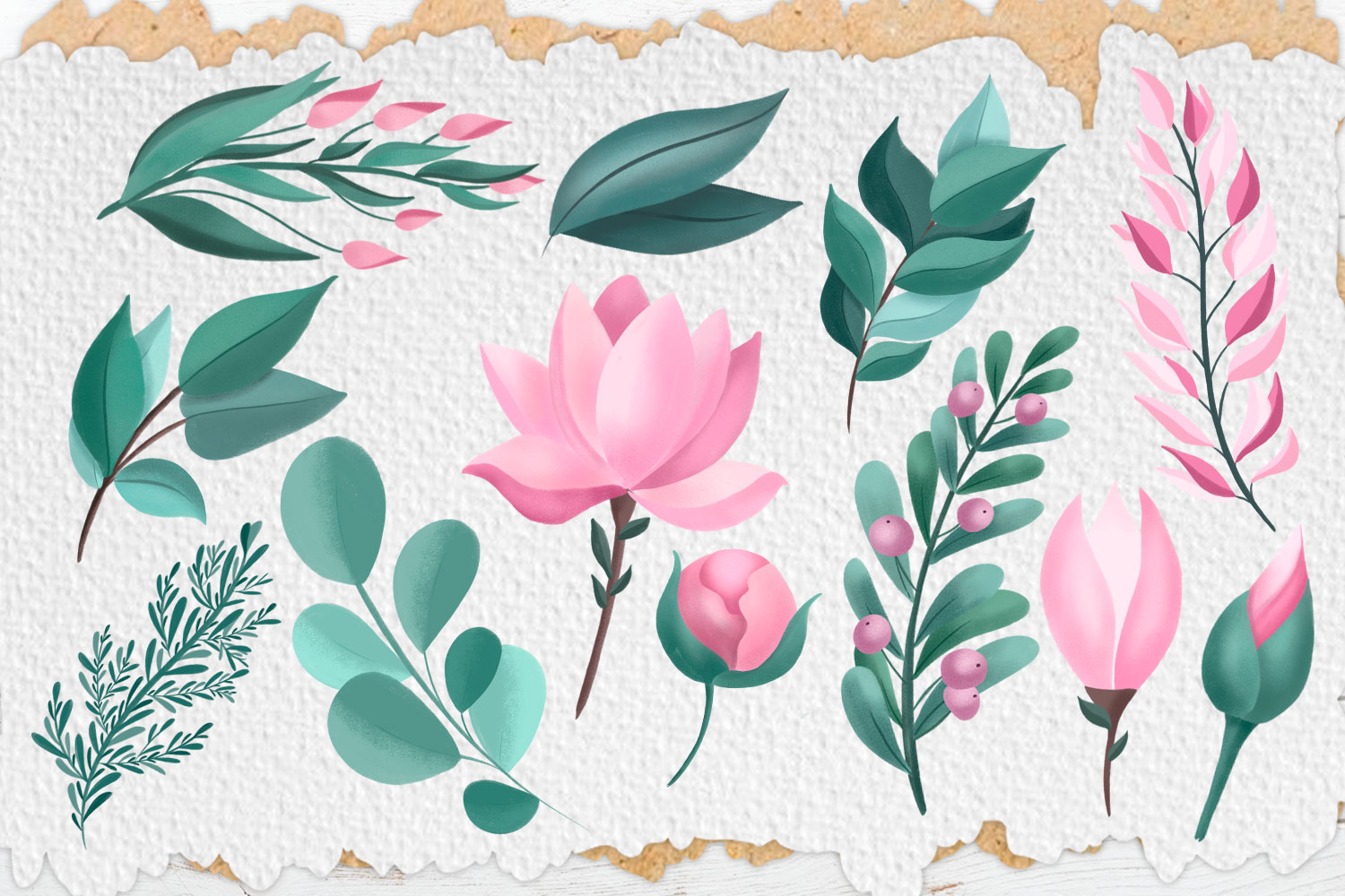Pink Flowers. Clip art set example image 5