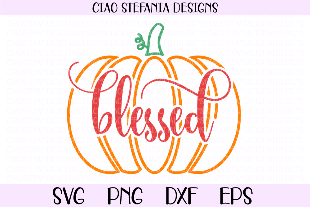 Blessed Pumpkin Thanksgiving Fall SVG PNG DXF EPS Cut File example image 1