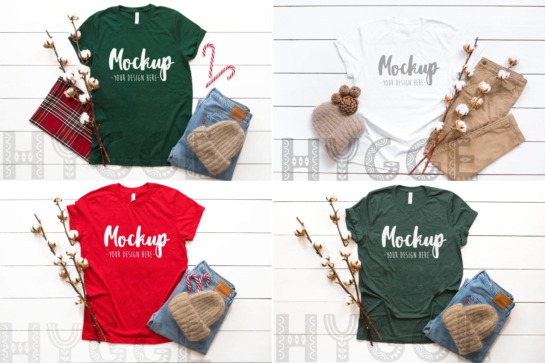 Winter Tshirt Mockup Bundle Bella Canvas 3001 3005 3501 3719 example image 5