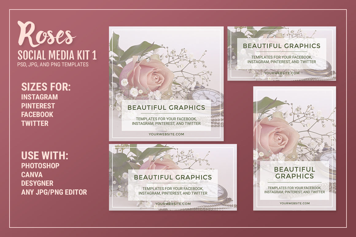 Roses Social Media Kit Bundle example image 3