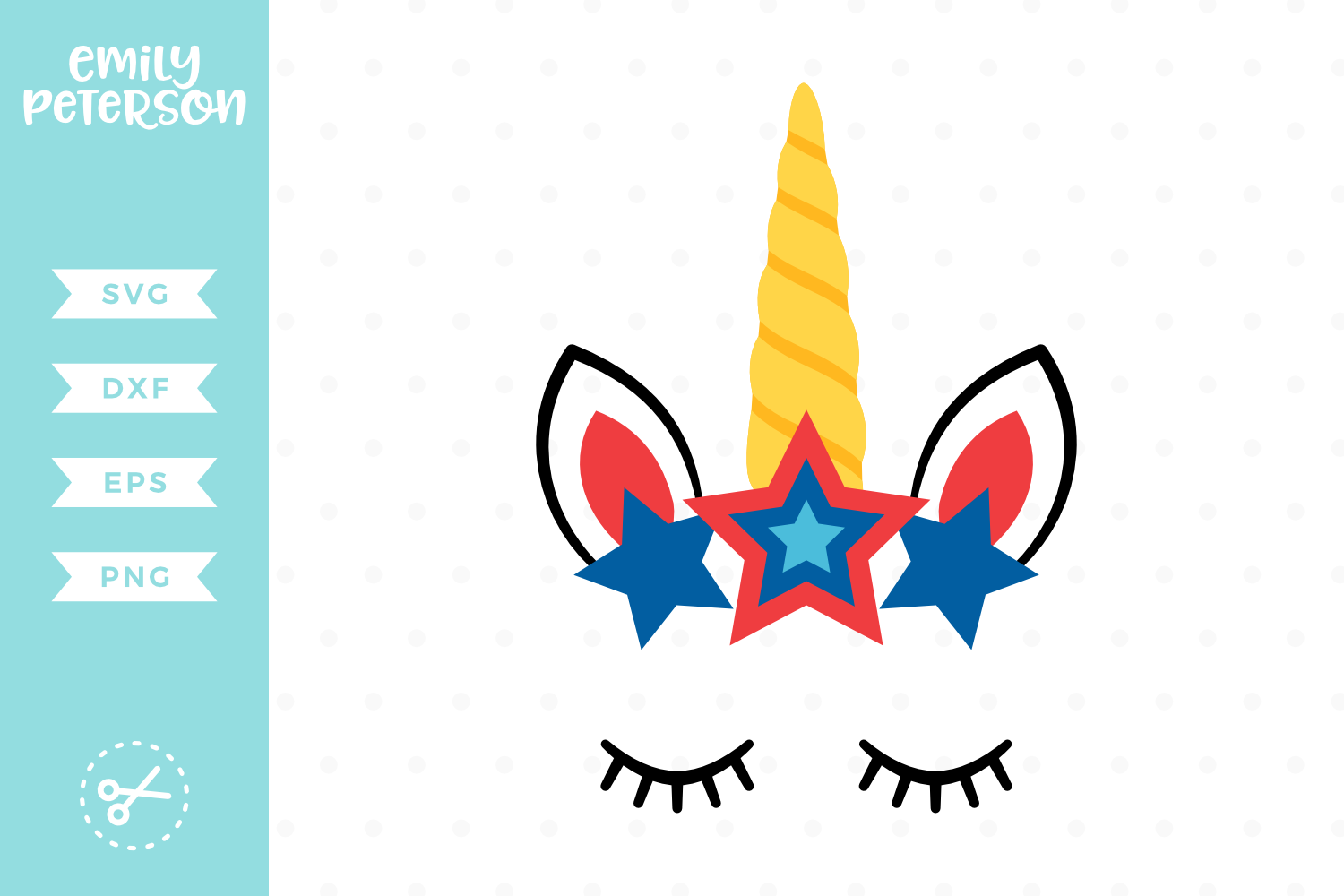Patriotic Unicorn Face SVG DXF EPS PNG example image 1