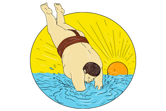 Japanese Sumo Wrestler Diving Sea Sunset Circle Drawing example image 1