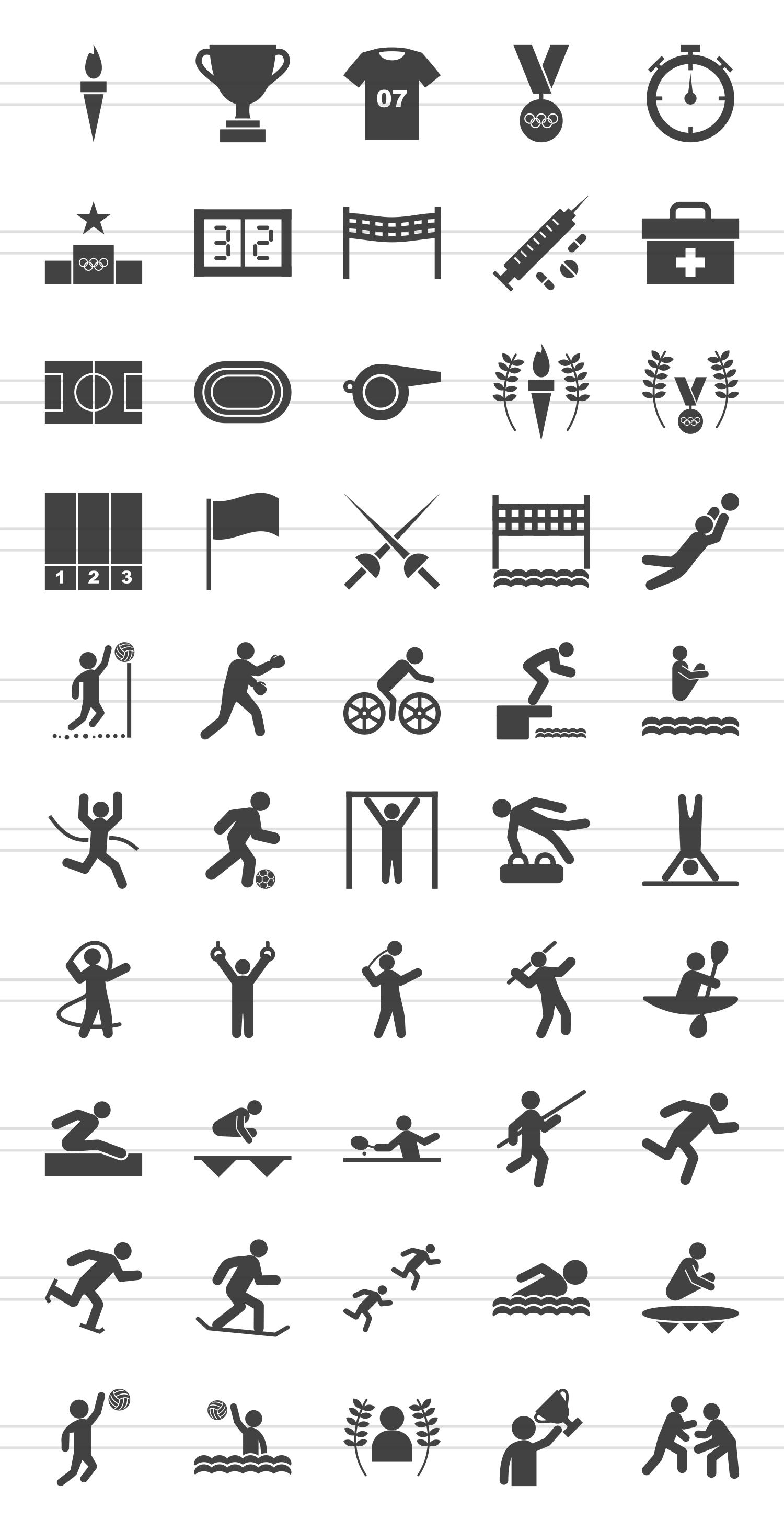 50 Olympics Glyph Icons example image 2