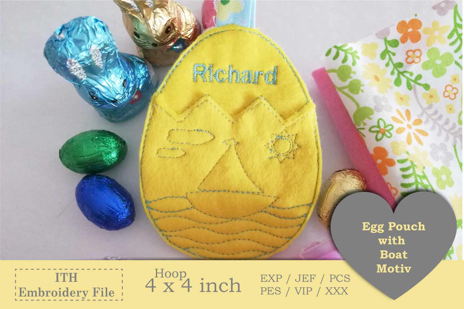 ITH - Egg Pouch with Sailboat Motive example image 2