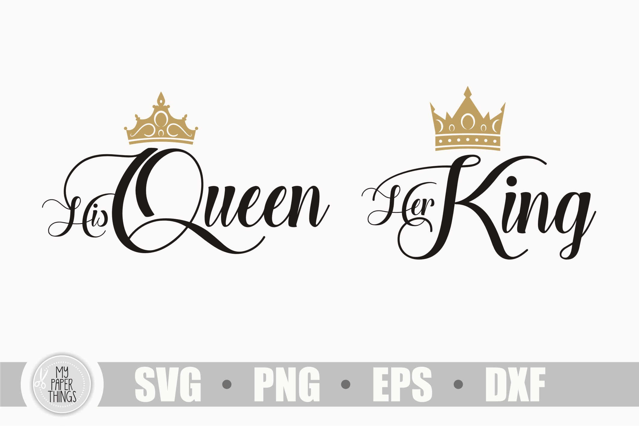 His Queen her King svg, couple shirt example image 1