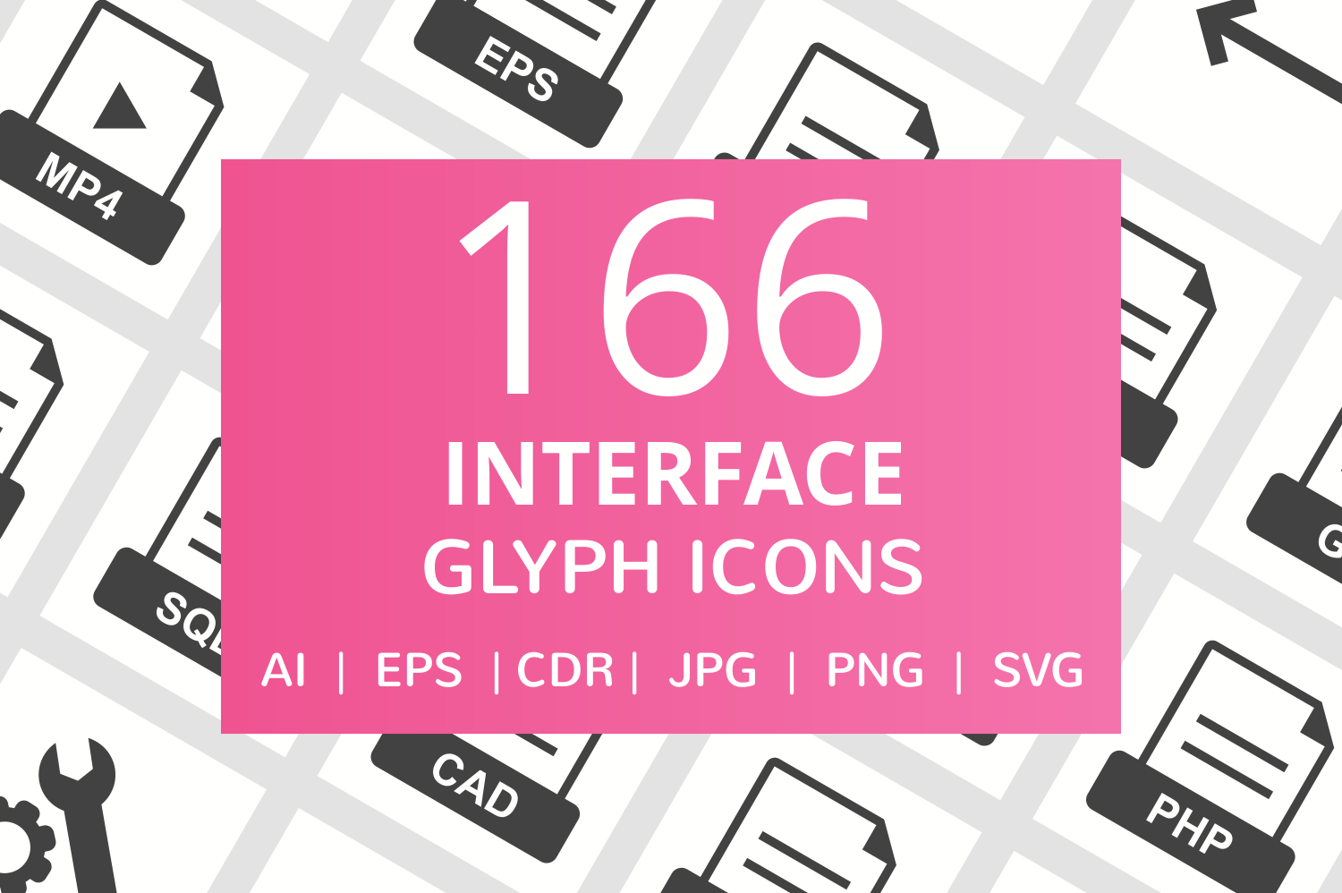 166 Interface Glyph Icons example image 1