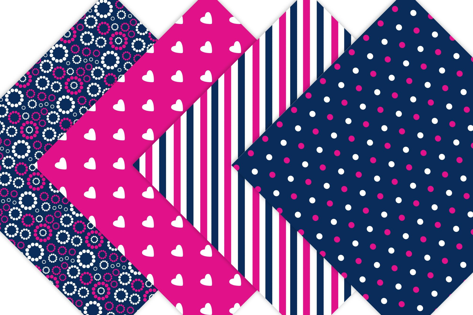 Hot Pink and Navy Digital Paper example image 3
