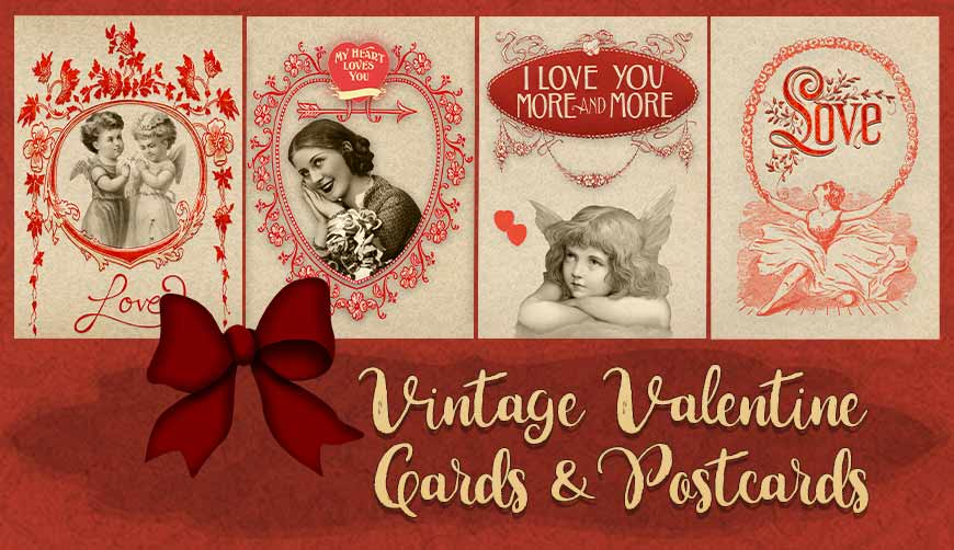 Valentine vintage 4 cards and postcards example image 1