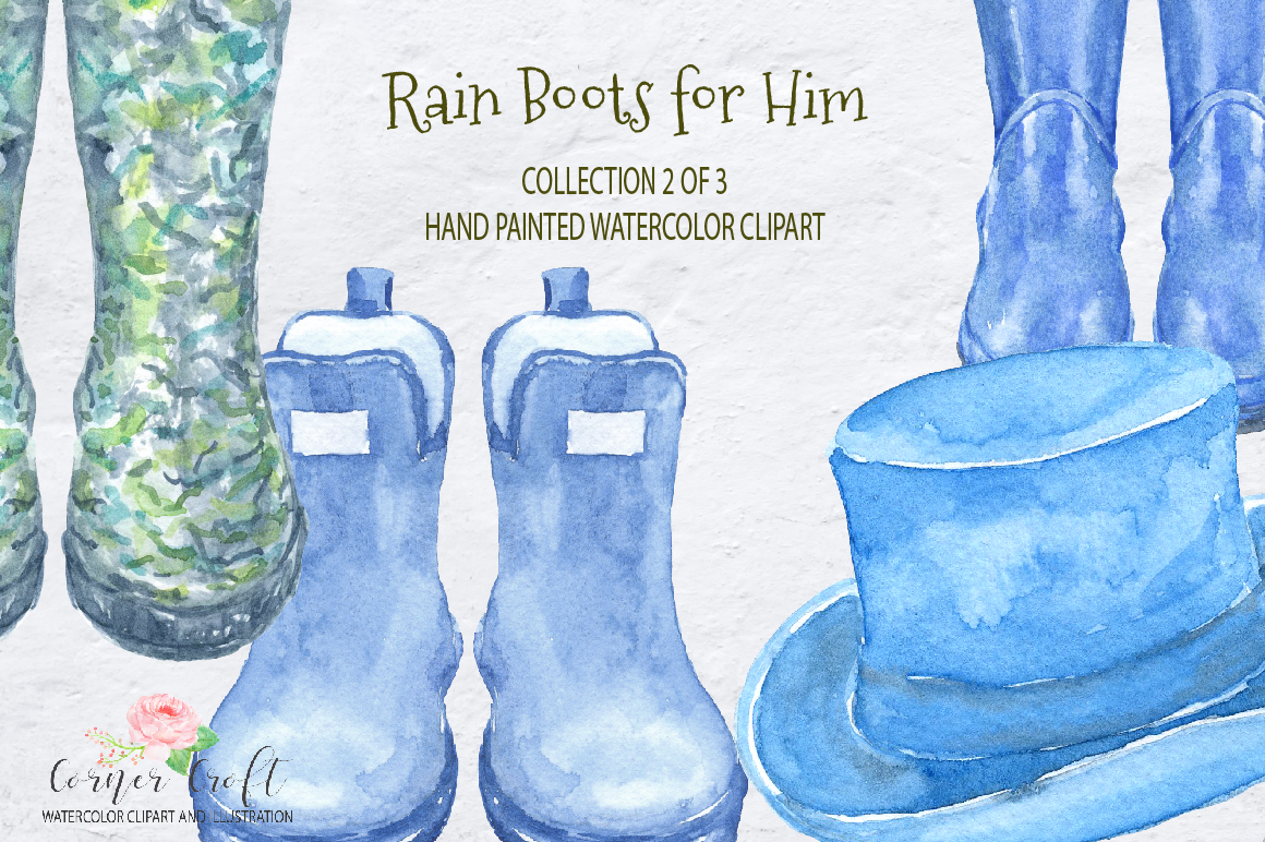 Watercolor Rain Boots for Him example image 4