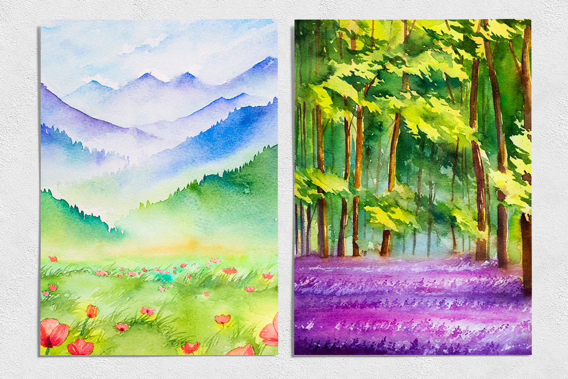 Spring Landscapes. Watercolor. example image 5