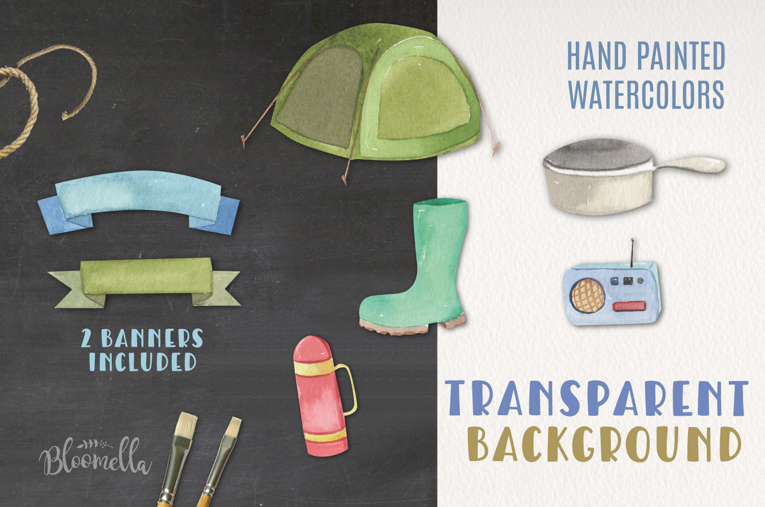 Camping Watercolor Elements example image 2