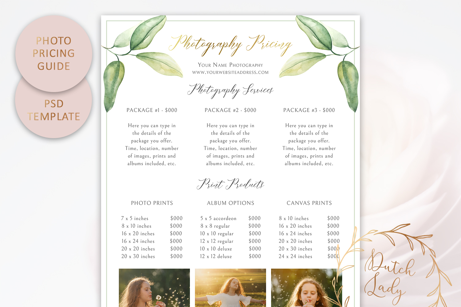 PSD Photography Pricing Guide Template Design #10 example image 2