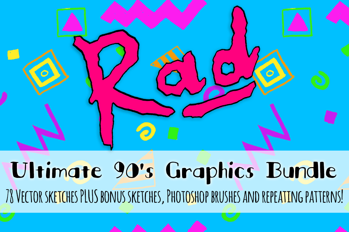 Super Rad 1990's Style Vector Sketch Pattern Kit example image 1