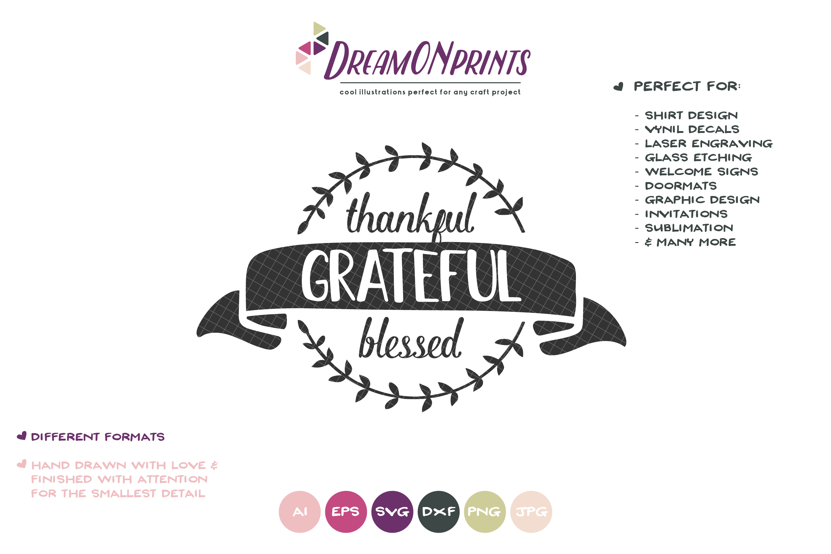 Thankful, Grateful, Blessed SVG | Thanksgiving Sign SVG example image 2