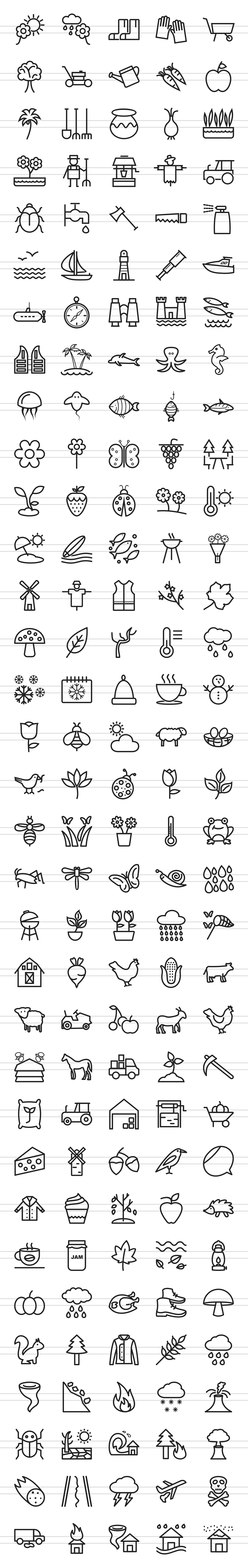 166 Nature & Outdoor Line Icons example image 3
