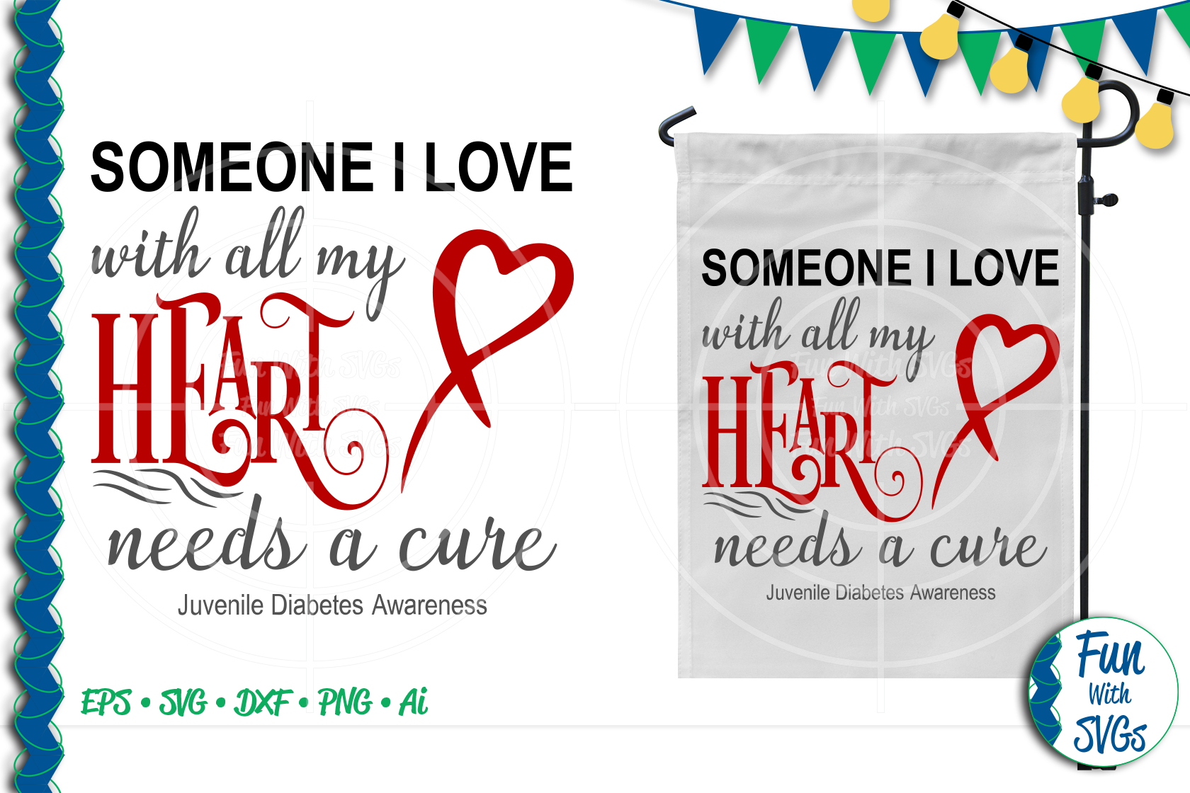 SVG Someone I Love Juvenile Diabetes, Cut File, FWS476 example image 1