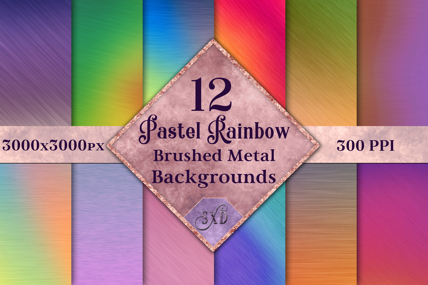 Pastel Rainbow Brushed Metal-Style Backgrounds / Textures example image 1