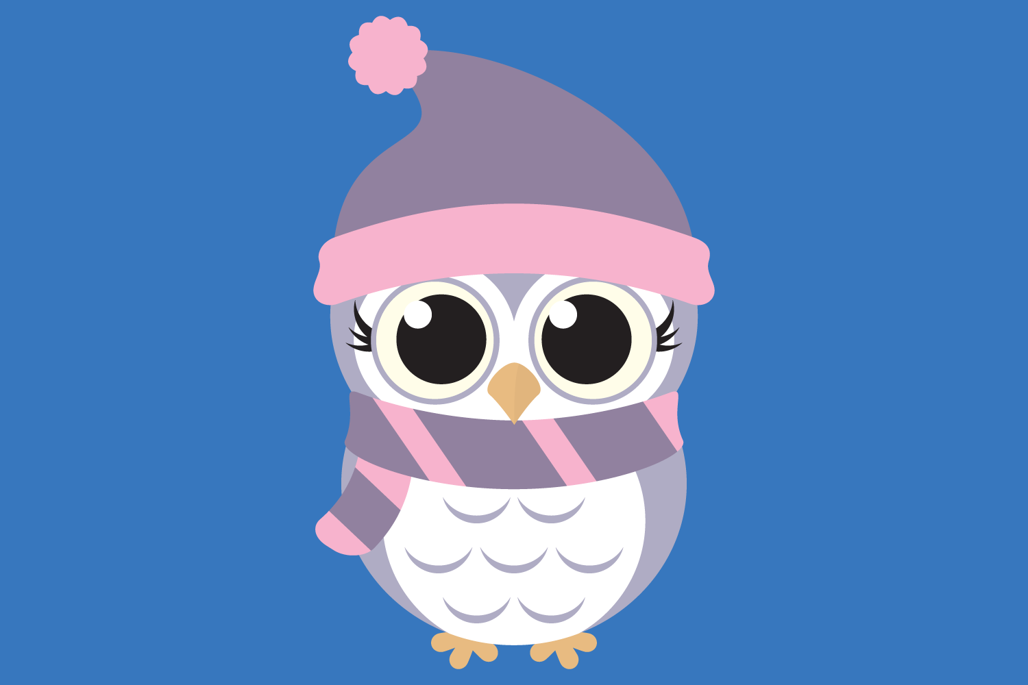 Cute Winter Owl Bundle SVG Cut Files, Woodland Baby Owls example image 3
