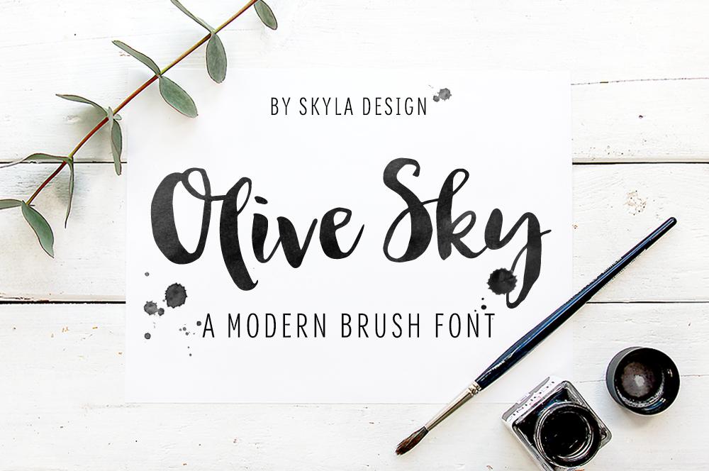 Modern brush font - Olive Sky example image 1