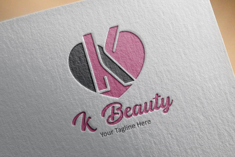 K letter heart logo example image 3