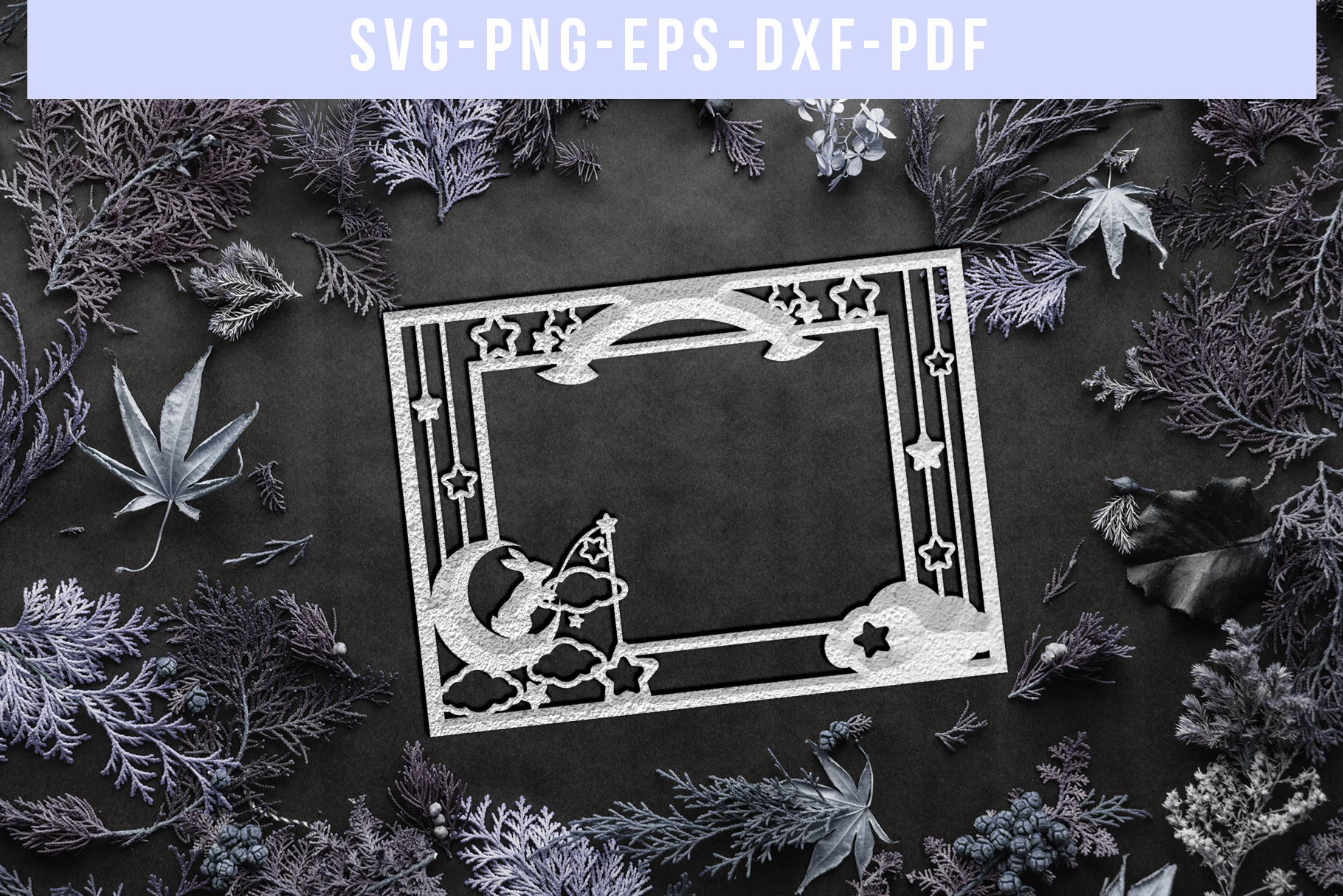 Customizable Landscape Photo Frame Papercut Template, PDF example image 3