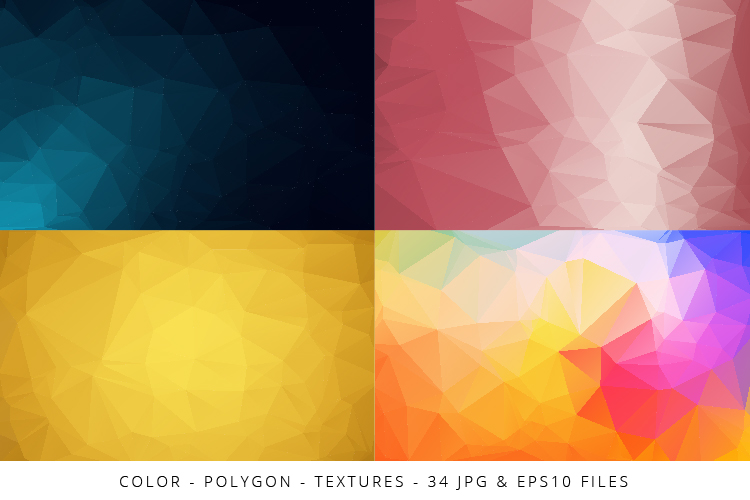 Colorful Low Poly Geometric Digital Papers Eps10 and JPG example image 7
