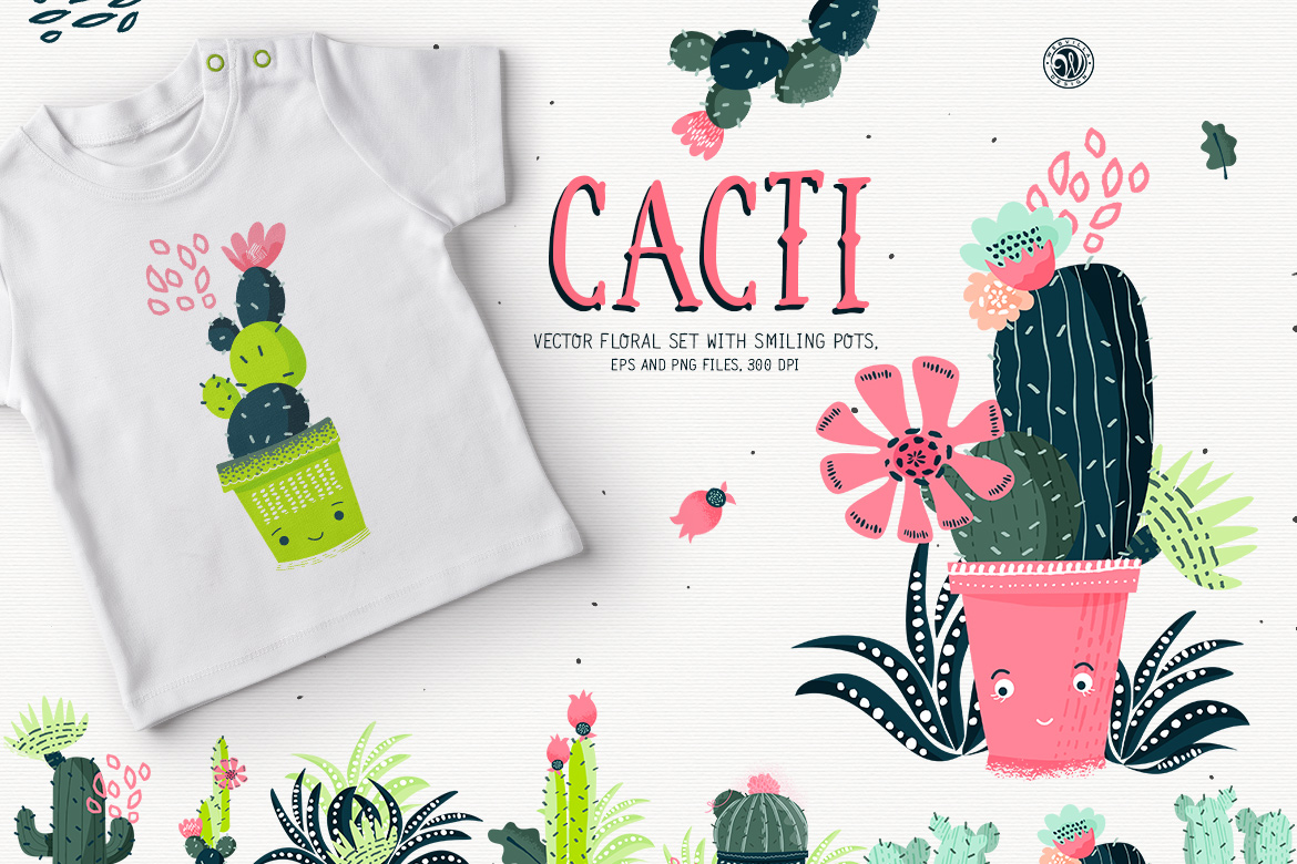 Cacti With Smiling Pots example image 1