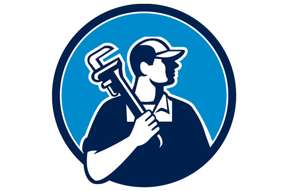 Plumber Holding Pipe Wrench Circle Retro example image 1