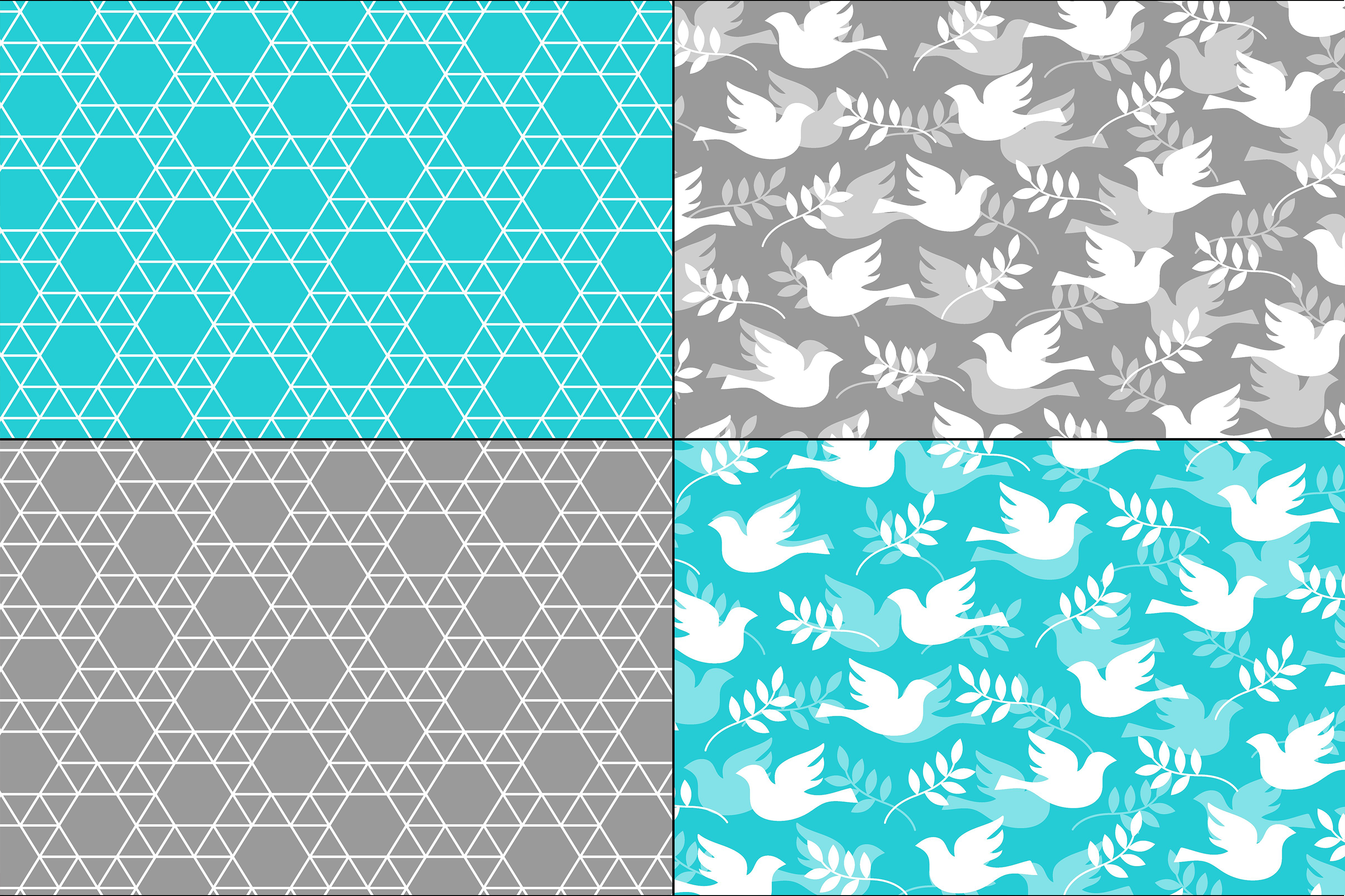 Blue Gray Hanukkah Patterns example image 3