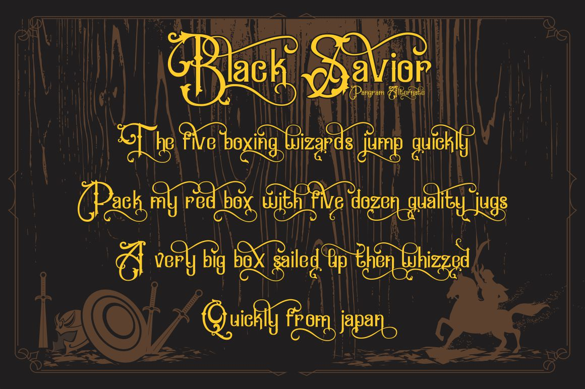 Black Savior - decorative calligraphy Display Font example image 3