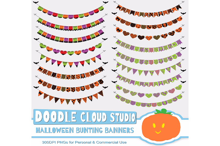 Halloween Colorful Bunting Banners Cliparts Pack, patterned flags Transparent Background, Instant Download Personal & Commercial Use example image 2