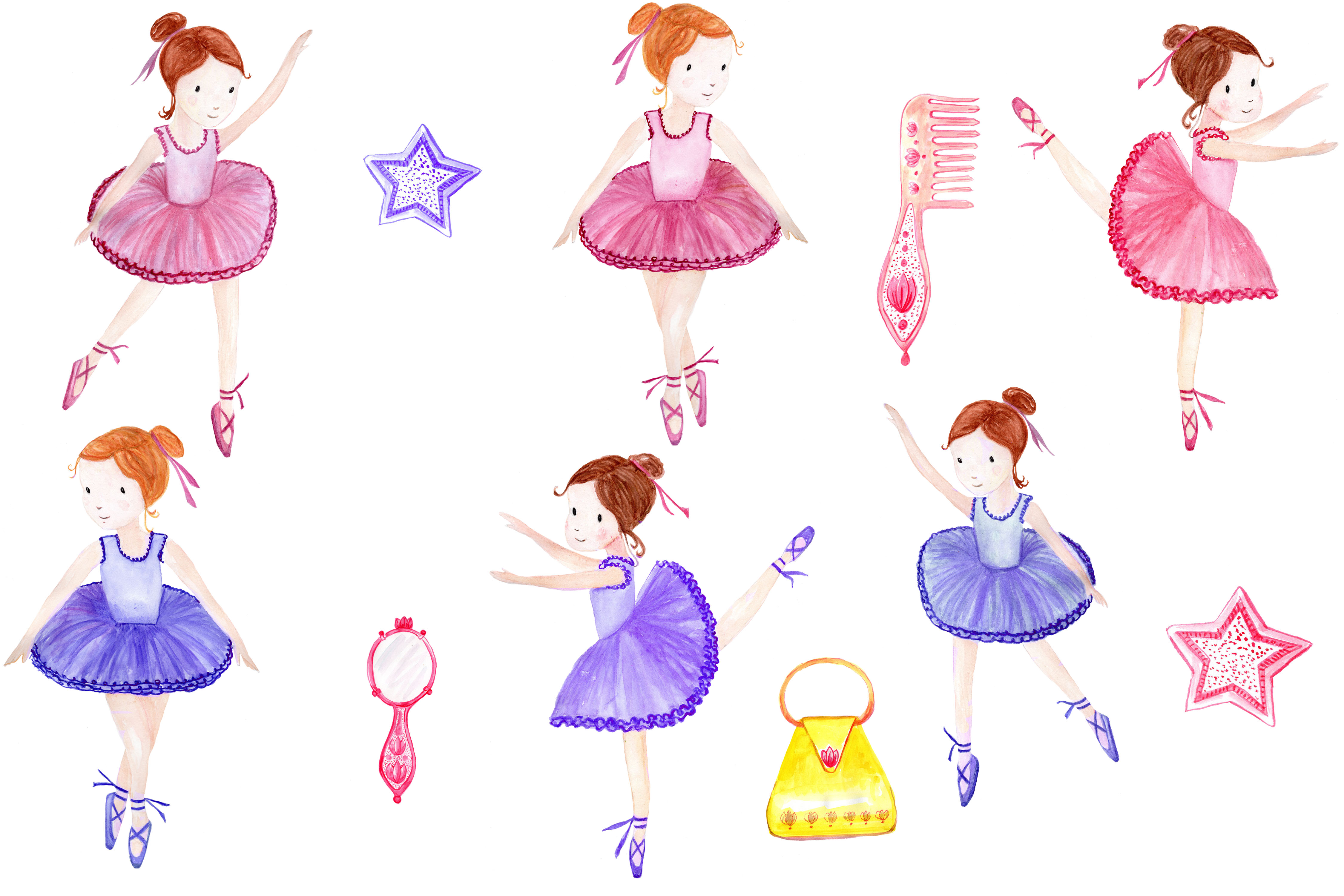 Watercolor ballerina clipart example image 2