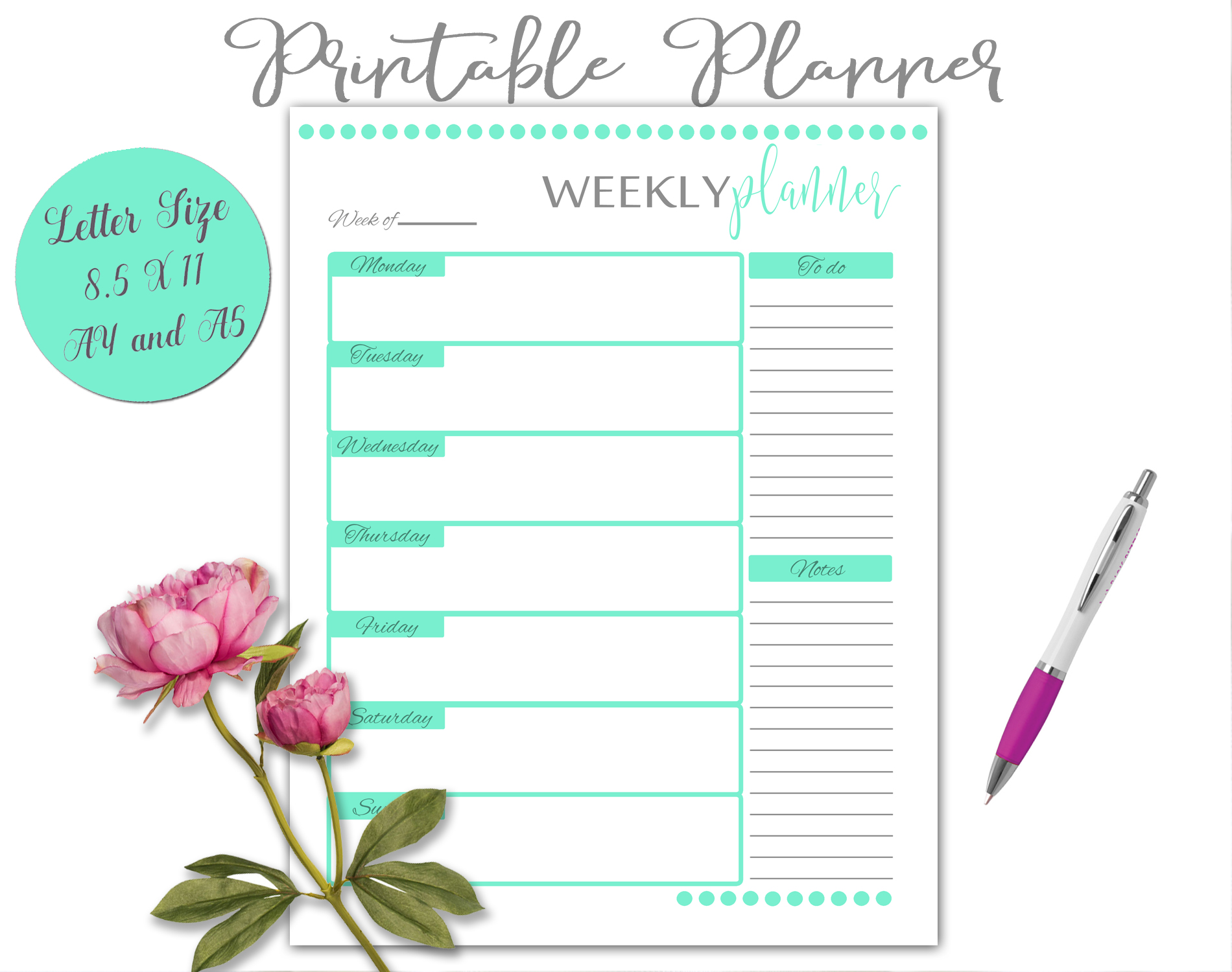 Printable Daily Weekly Monthly Planner Sheets example image 12