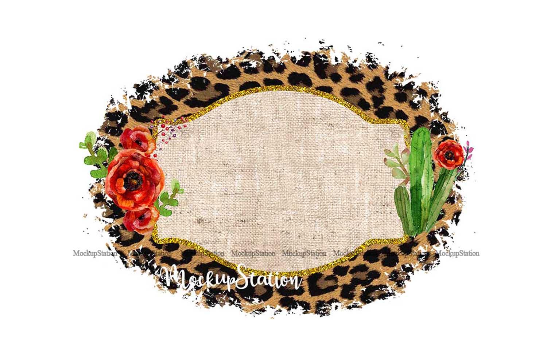 Sublimation Background Frame PNG, Cheetah Burlap Clip Art example image 1